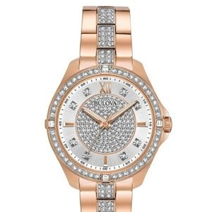 Bulova Womens Rose Gold Crystal Bracelet Watch